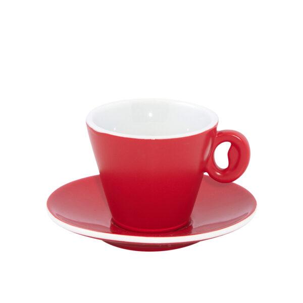 Φλυτζάνι και Πιάτο Πορσελάνης Ninfea Red Matte, 6.5cl