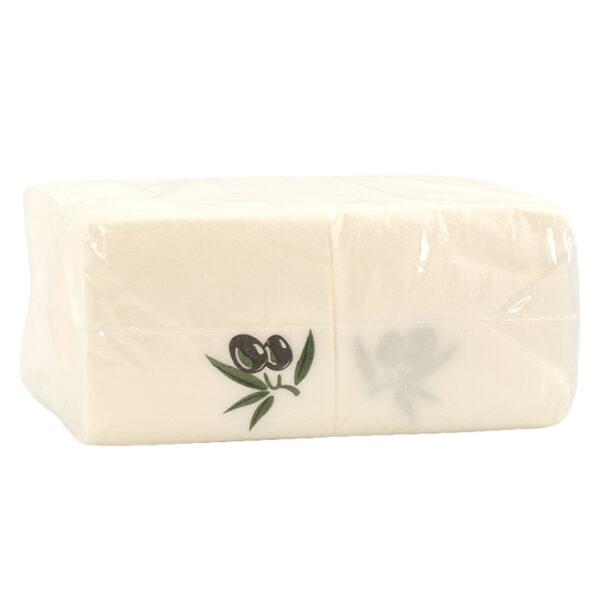 Χαρτοπετσέτες φαγητού 30Χ30 λευκές με σχέδιο Ελιάς